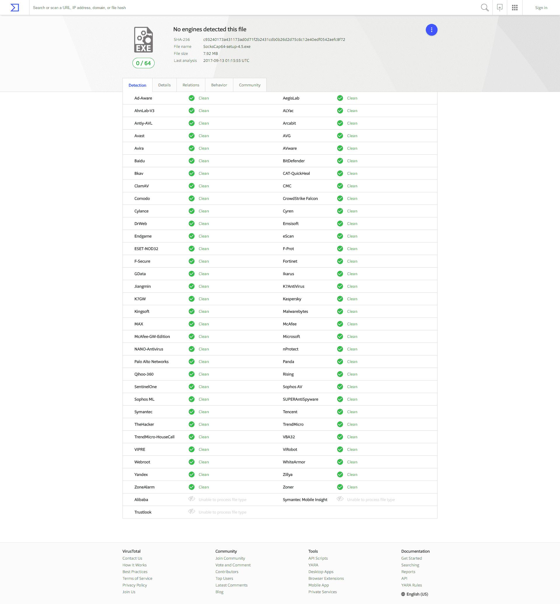 Scanning result at VirusTotal