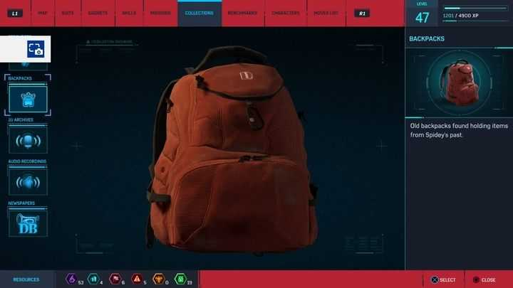 Backpacks in Marvel's Spider-Man Marvel's Spider-Man Guide and Walkthrough