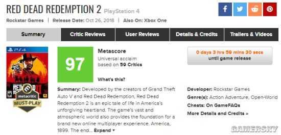 《荒野大膘客:救贖2》Red Dead: RedemptionⅡ 媒體評分解禁:均分97 神作出爐壹致好評