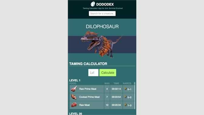 Dododex Taming Calculator for Ark: Survival Evolved